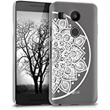 kwmobile Crystal Case for LG Google Nexus 5X with Design Indian half-flower - transparent Protection Case Cover clear in white transparent