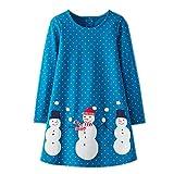 KIDSALON Little Girls Casual Cartoon Print Long Sleeve Cotton Dresses (5T, Snowmen)