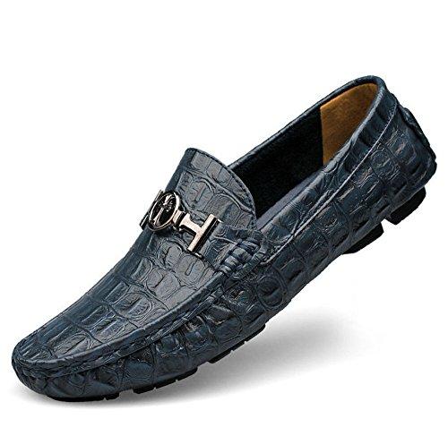 uomo uk scarpe grandi da HAOYUXIANG Blu Peas dimensioni 36 scarpe tempo scarpe dimensioni Blu scarpe pigro pelle di per Colore libero business uomo in il WZtItnqT