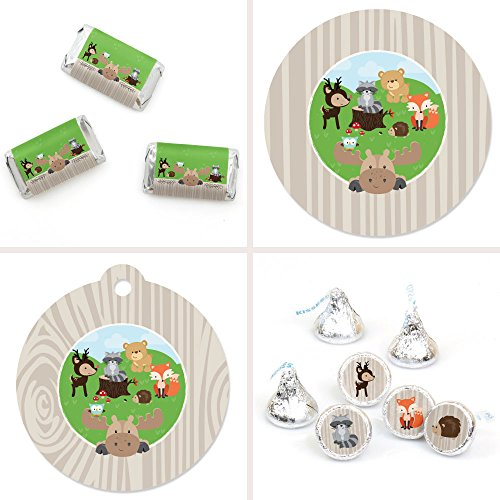 Big Dot of Happiness Woodland Creatures - Baby Shower or Birthday Party Decorations Favor Kit - Party Stickers & Tags - 172 ()