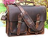 15 Inch Retro Buffalo Hunter Leather Laptop Messenger Bag Office Briefcase College Bag