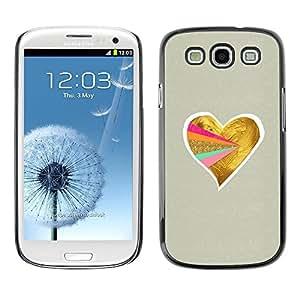 FECELL CITY // Duro Aluminio Pegatina PC Caso decorativo Funda Carcasa de Protección para Samsung Galaxy S3 I9300 // Rainbow Gay Gold Minimalist Beige