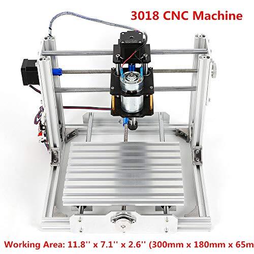 HYYKJ 3018 CNC Router Engraver Kit GRBL Control 3 Axis USB Plastic Acrylic PCB PVC Wood Carving Milling Engraving Machine Mini DIY Desktop Printer, XYZ Working Area 300x180x65mm + ER11