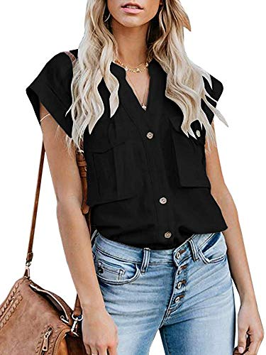 Lannychic Women's Button Up Shirts Cotton Short Sleeve Blouses V Neck Casual Tunics Solid Color Tops with Pockets - Black XL (Cotton V-neck Blouse)