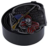 ABC STORY Women Genuine Italy Leather Dark Gothic Rocker American Flag Belt Strap For Men Black