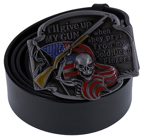 ABC STORY Mens Genuine Leather Skull American Flag Belt Buckle Strap Black