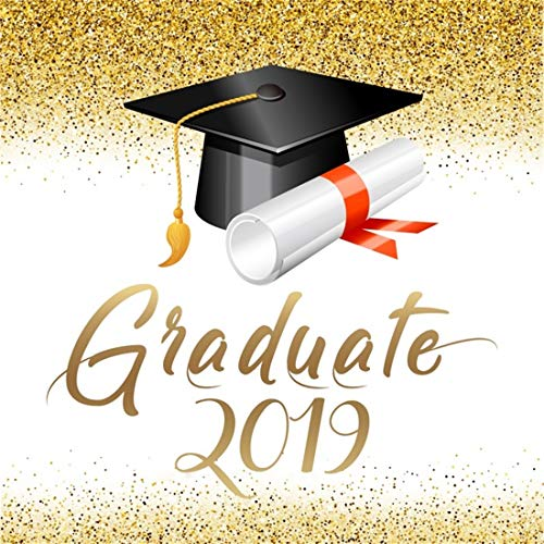 LFEEY 6x6ft Graduation Party Backdrop 2019 Graduate Grads Senior Year Prom Parties Decoration Poster Banner Mortarboard Sequins Photo Background Photo Studio Props