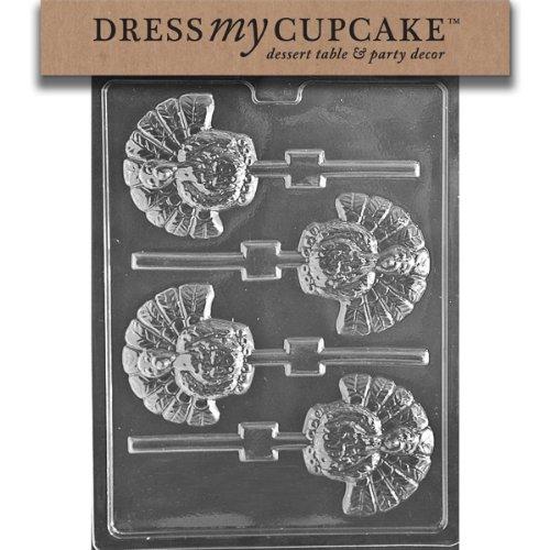 Dress My Cupcake DMCT042 Chocolate Candy Mold, Turkey Lollipop, Thanksgiving ()