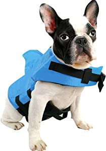 SUNFURA Pet Life Jacket, Dog Swimsuit with Shark Fin, Swimming Float Saver with Superior Buoyancy and Rescue Handle for Small Medium Large Dogs