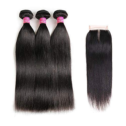 """Brazilian Straight Hair With Closure 3 Bundles Unprocessed Virgin Human Hair Bundles With Lace Closure Free Part Hair Extensions Natural Color (16 18 20+14"""",Middle Part) from ULOVE HAIR"""