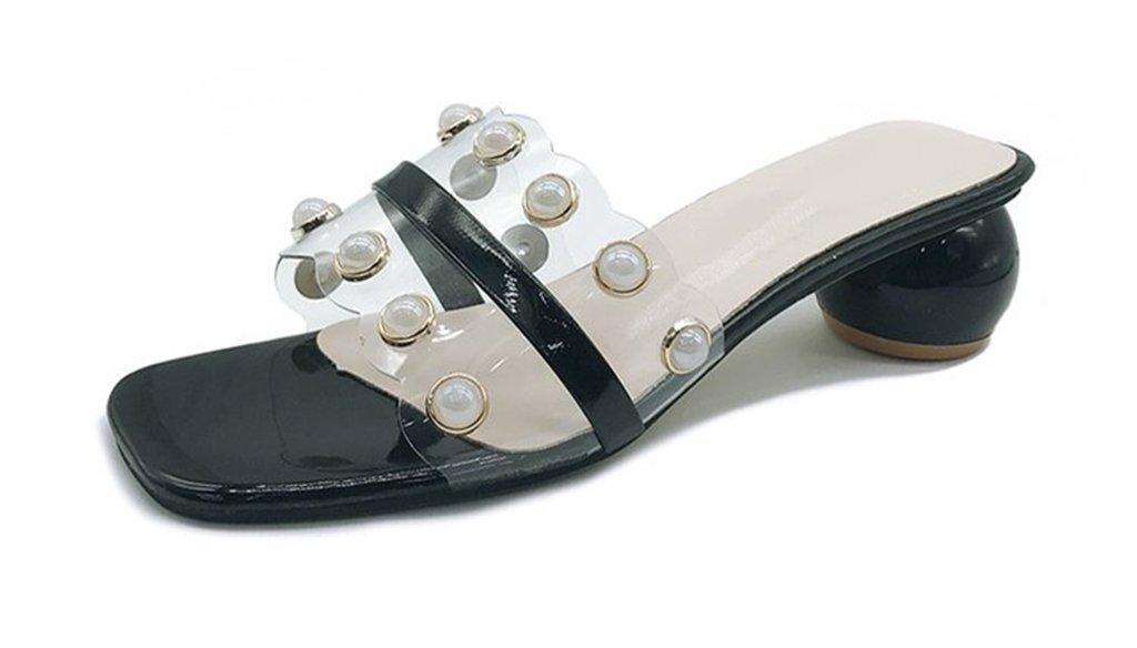 prape Hembra Transparente Perla Sandalias Medio Talón Zapatillas Flip Flops 37___23_5CM|black