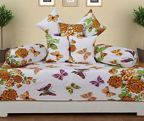 SupremeホームCollective新しい100 %コットンアラビア調セット( 1 Single bedsheet ( 90 x 60インチ、2 Bolster Covers ( 9 x 28インチ、5クッションカバー( 12 x 12インチ) B06XWBJWT3
