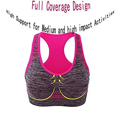 Women's Removable Padded Seamless Sports Bras Pocket High Impact Workout Gym Racerback Yoga Bra Top