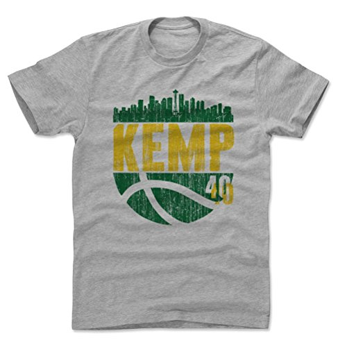 500 LEVEL Shawn Kemp Cotton Shirt (Large, Heather Gray) - Seattle Sonics Men's Apparel - Shawn Kemp Skyball G