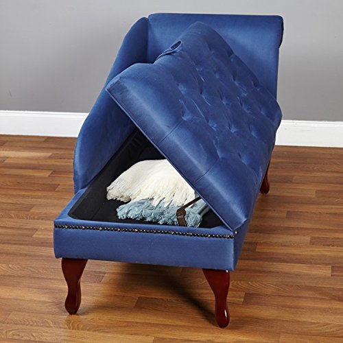 Elegant Upholstered Button Tufted Storage Chaise (Blue)