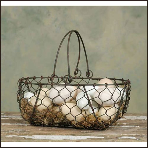 Colonial Tin Works Inc Gathering Basket Green/Rust ()