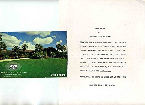 The Country Club of Miami Golf Score Cards & Directions from Generic