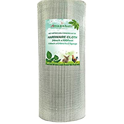 24-Inch-by-100-Foot 1/4-by-1/4-Inch Mesh 23-Gauge Hot-dipped Galvanized Hardware Cloth, Silver Amagabeli from Amagabeli