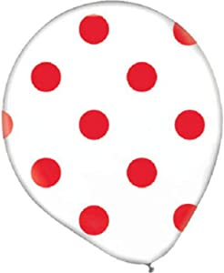 Polka Dots Latex Balloons | White/Apple Red | Pack of 20 | PartyDecor