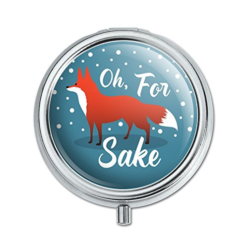 Oh For Fox Sake Funny on Teal Pill Case Trinket Gift ()
