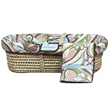 Bacati Retro Flowers Blue/Chocolate Moses Basket, Brown