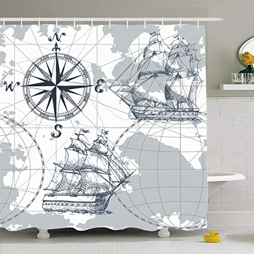 Ahawoso Shower Curtain 60x72 Inches Shape Boat Sea Map Vintage Retro World Antique Sail Sketch Compass Ancient Waterproof Polyester Fabric Bathroom Curtains Set with - Shape 72 Boat