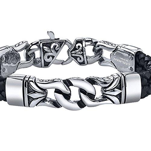 Coolman-Black-Stainless-Steel-Braided-Leather-Bracelet-Cross-Bracelets-88-Inch-for-Men-Women