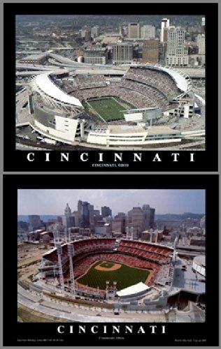 Great American Park Aerial (Framed Cincinnati Reds and Bengals - Paul Brown Stadium & Great American Ballpark Prints (Set of 2))