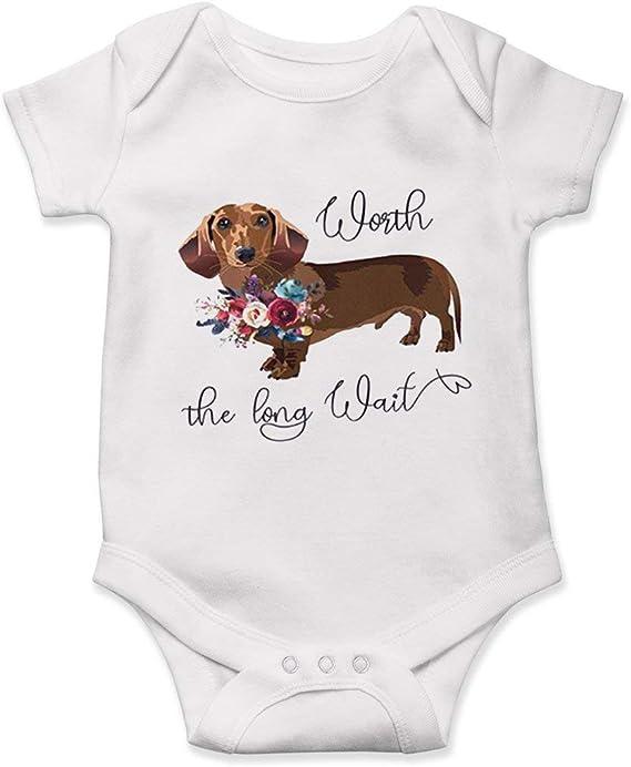 Worth the Wait Onesie\u00ae Pregnancy Reveal Unisex Baby Clothes Dotson Baby Onesie Long Wait Wiener Dog Onesie Pregnancy Announcement