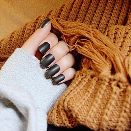 Black Fake Nails (JINDIN Black Matte French Manicure Natural False Nails Short Full Cover Design for Women 24 pcs/set)