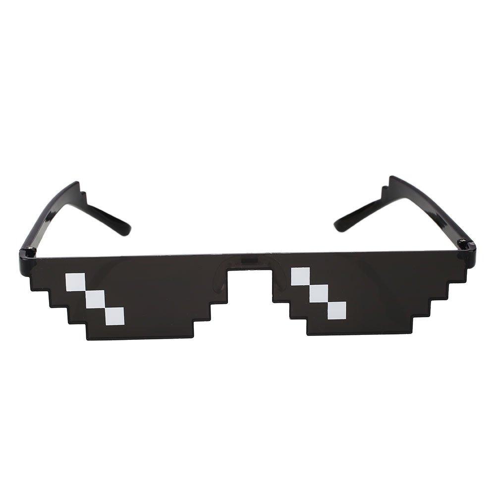 attachmenttou Unisex mosaico exterior Pixel Gafas de sol Gafas de protección solar Gafas Decoración Negro