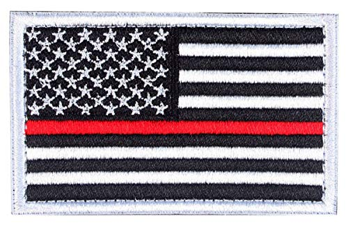 - Tactical Patches of USA US American Flag Thin Red Line Firefighters, with Hook and Loop for Backpacks Caps Hats Jackets Pants, Military Army Uniform Emblems, Size 3x2 Inches