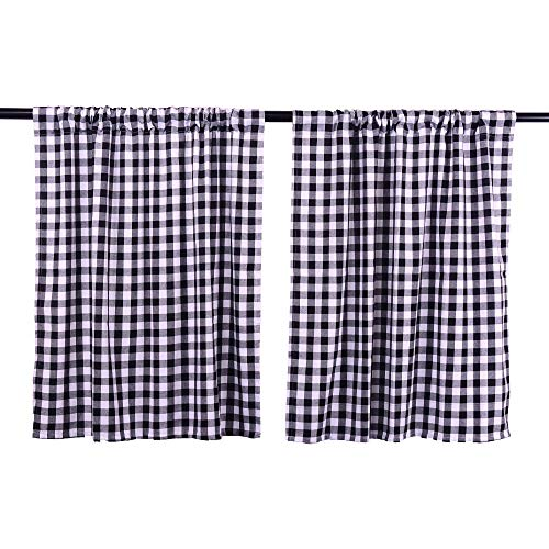 LGHome Buffalo Check Curtains, Plaid Window Treatment, Kitchen Window Panels, Black and White, 36x36inch, Pack of 2 (Breakfast Country Ideas Nook)