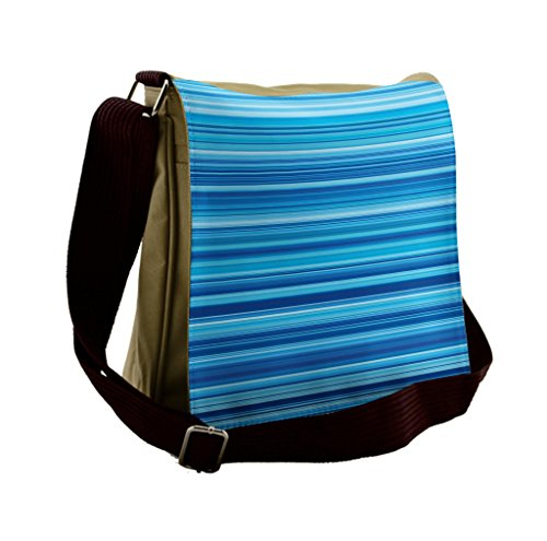 Blue Striped Messenger Bag - Lunarable Blue Messenger Bag, Horizontal Striped Pattern, Unisex Cross-body