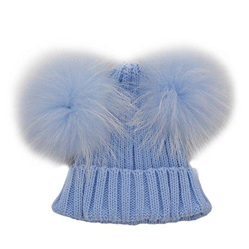 Knitted Cap Pattern (MIOIM Unisex Baby Boys Girls Wool Knit Hat Raccoon Fur Double Big Ball Pompom Bobble Ski Cap)