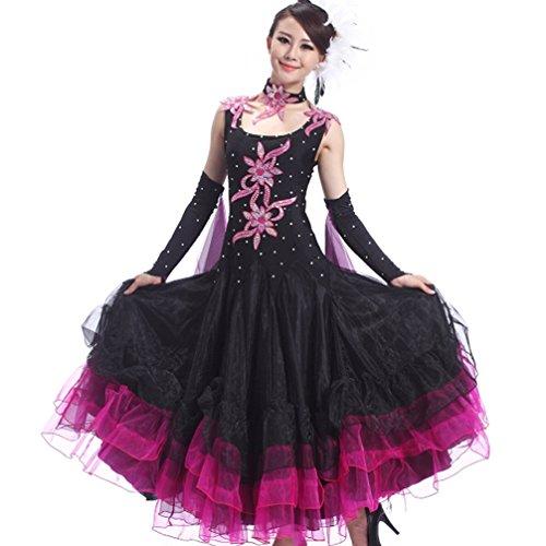 Salon Performance Tango Robes Valse Black Pour Moderne Wqwlf Sans Costumes Compétition Femme s Danse Manches De Vêtements tsxdCrohQB