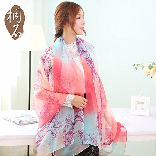 Seidenschal in weiblichen Silk chiffon schal Schal Schals und Alle-match Schals 180 cm * 110 cm Sonnenschutz,207-1 324-2