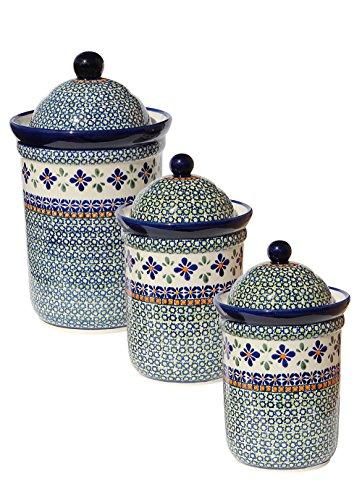 (Polish Pottery 3 Pc Canister Set From Zaklady Ceramiczne Boleslawiec 1244/1243-du60)