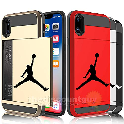 iPhone Xs Max - Dual-Layered Credit Card  ID Storage Basketball Michael Jordan Compartment Phone Case to Store Money  Cash with Slide Wallet Jumpman Air Protective Cover  (Black & Red)