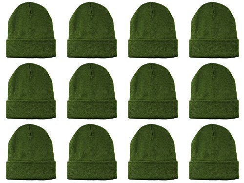Knit Stocking Cap - Gelante Unisex Beanie Cap Knitted Warm Solid Color Multi-Packs (12 Pack: Olive Green)