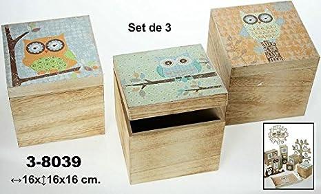 DonRegaloWeb DRW - Set de 3 Cajas de Madera Decoradas con búhos 16x16x16cm: Amazon.es: Hogar