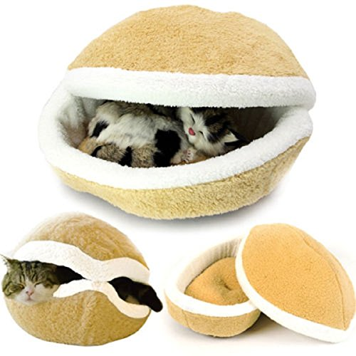 RunHigh Pets Shell Bed Sleeping House Hamburger Hide Nest Warm Home for Cat Small Dog