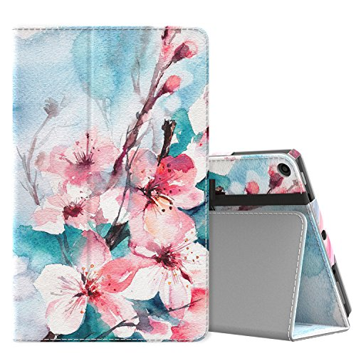 MoKo Case for All-New Amazon Fire HD 10 Tablet (7th Generation, 2017 Release) - Slim Folding Stand Cover with Auto Wake/Sleep for Fire HD 10.1 Inch Tablet, Peach Blossom