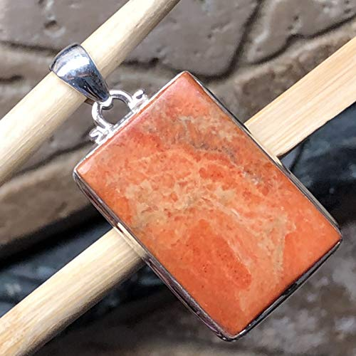 - Natural Sponge Coral 925 Solid Sterling Silver Solitaire Pendant 40mm Long