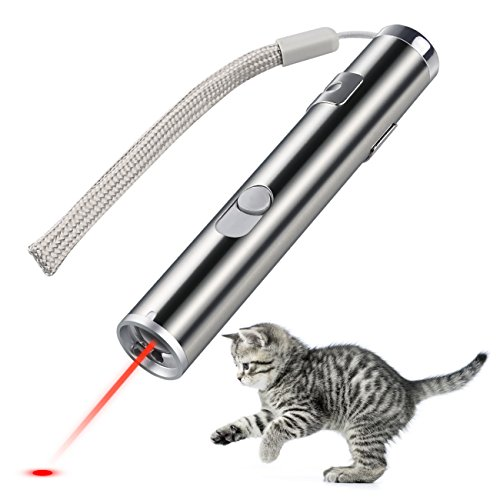 Creaker 2 in 1 Multi Function Funny Cat Chaser Toys Mini Flashlight & Interactive Pet Toys Cat Light Pointers Cat Training Tool (USB Rechargable)