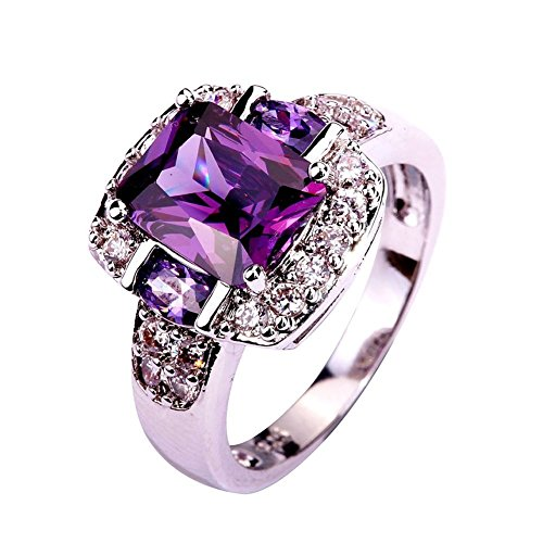 Voinnia 925 Sterling Silver Created Amethyst Filled Halo Promise Ring (Color : Purple, Size : ()