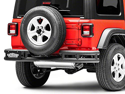 (RedRock 4x4 Tubular Rear Bumper with Wrap Around in Textured Black - for Jeep Wrangler JL 2018-2019)