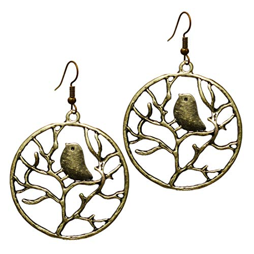 Stay Calm Gold Tone Vintage - Surreal Forest Bird and Branch Unique Tree Leaf Earrings, Bronze Tone Statement Fishhook Steampunk Dangle Women's Earring Gifts (earring2010)