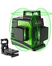 Huepar 3D Green Self-Leveling Laser Level 3 x 360 Cross Line 150ft Three -Plane Leveling and Alignment Laser Level Tool -Two 360° Vertical and One 360° Horizontal Line -Magnetic Pivoting Base GF360G