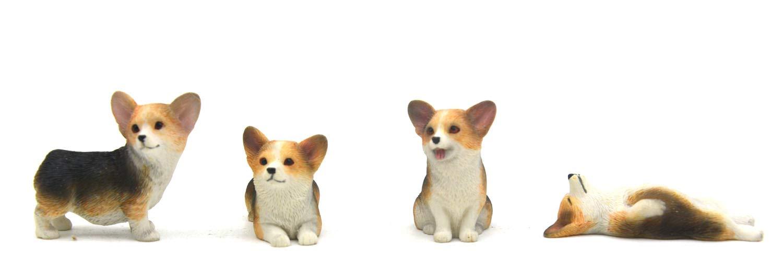 Pack of 4 Corgi Figurine Toy Corgi Cake Topper Mini by oumihome